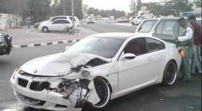 حادث سيارة بي إم دبليو BMW Crash